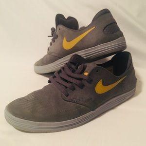 new arrival 6132b ddb40 Nike Shoes - Nike SB Lunar One Shot - Grey Suede Yellow Swoosh